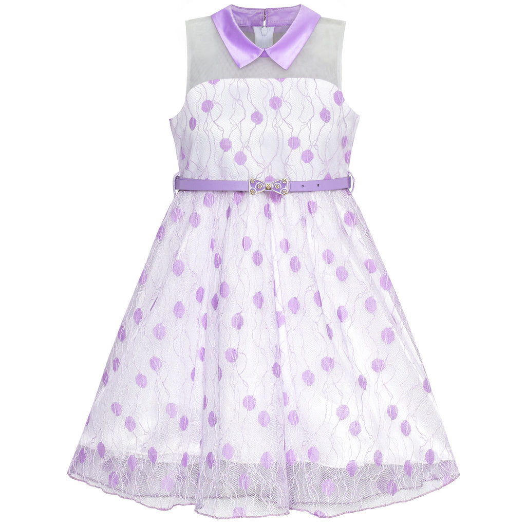 Girls Dress Purple Lace Dot Collar Belt Birthday Party Size 6-12 Years