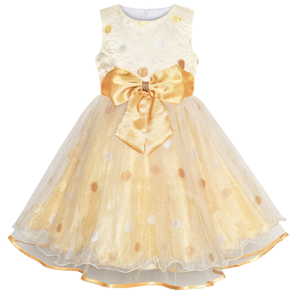 0c6c11832ac Girls Dress Champagne Dot Bow Tie Wedding Party Bridesmaid – Sunny ...