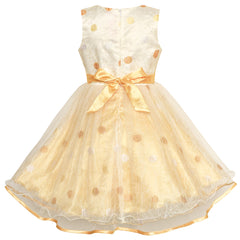 Girls Dress Champagne Dot Bow Tie Wedding Party Bridesmaid Size 2-10 Years