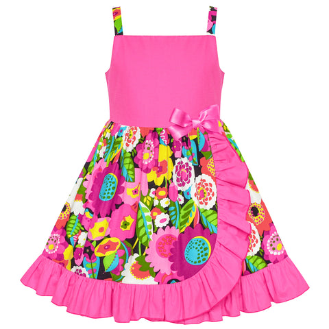 Girls Dress Cold Shoulder Green Pink Hi-low Dress Size 4-8 Years