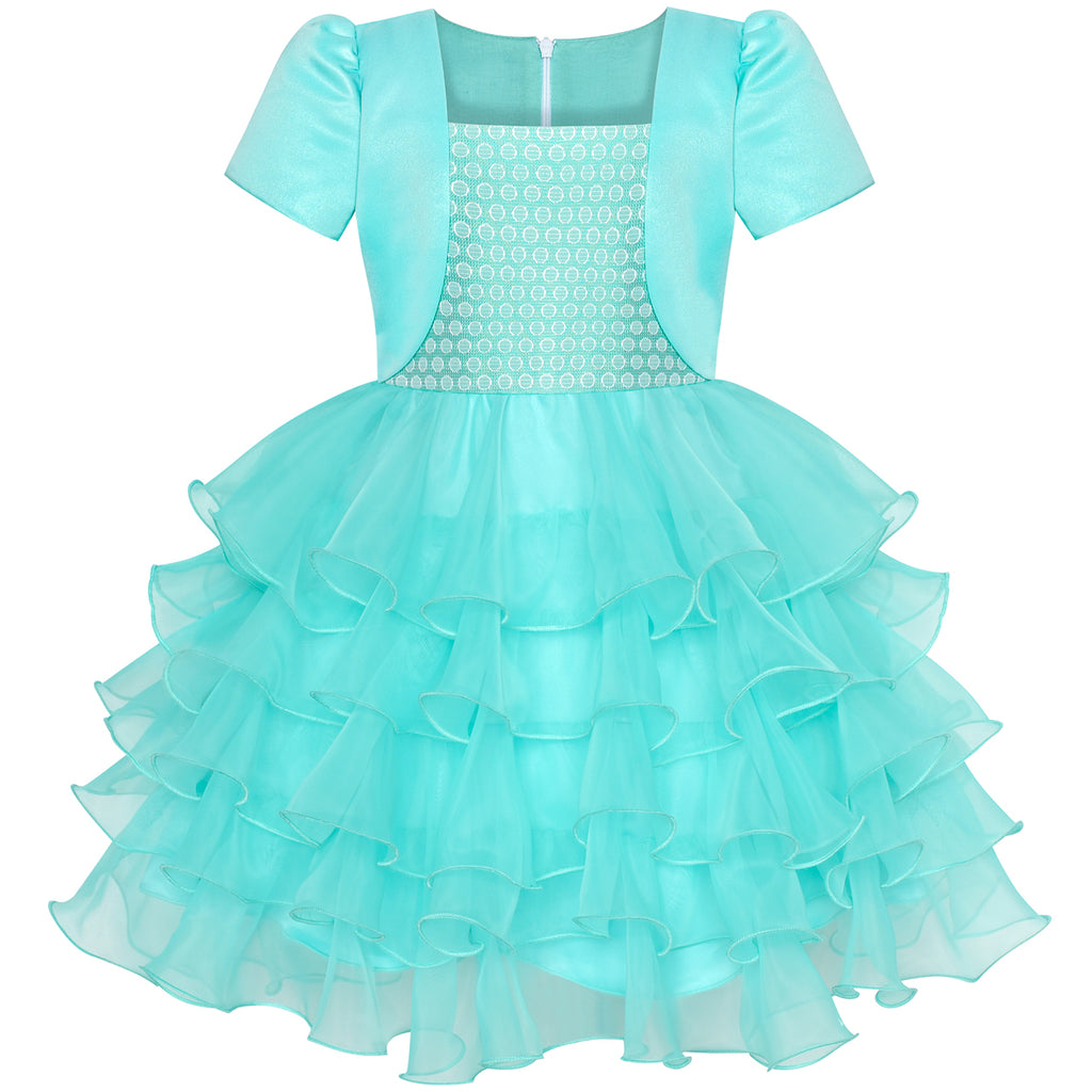 Girls Dress 2-in-1 Bolero Turquoise Birthday Party Dress Size 5-10 Years