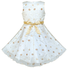 Flower Girls Dress Dot Champagne Wedding Party Bridesmaid Size 4-12 Years