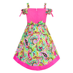 Girls Dress Cold Shoulder Paisley Green Pink Hi-low Dress Size 6-12 Years