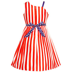 Girls Dress American Flag National Day Party Stars Dress Size 6-12 Years