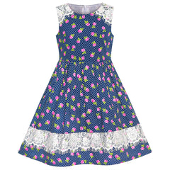 Girls Dress Purple Flower Summer Casual Dress Lace Size 6-14 Years