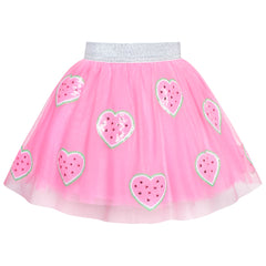 Sunny Fashion Girls Skirt Pink Heart Sequins Sparkling Tutu Dancing