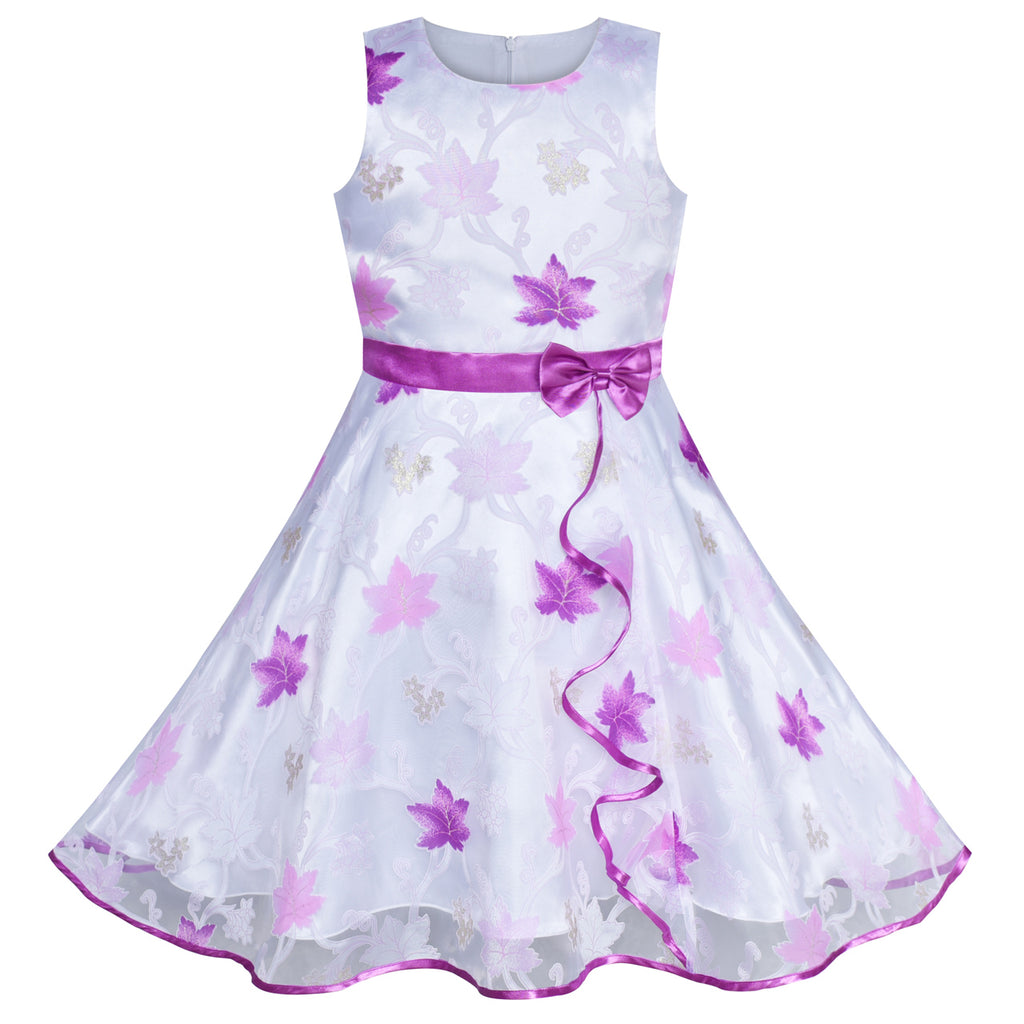 Girls Dress Maple Leaf Purple Wedding Party Birthday Size 4-12 Years