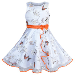 Girls Dress Butterfly Orange Wedding Party Birthday Size 4-12 Years