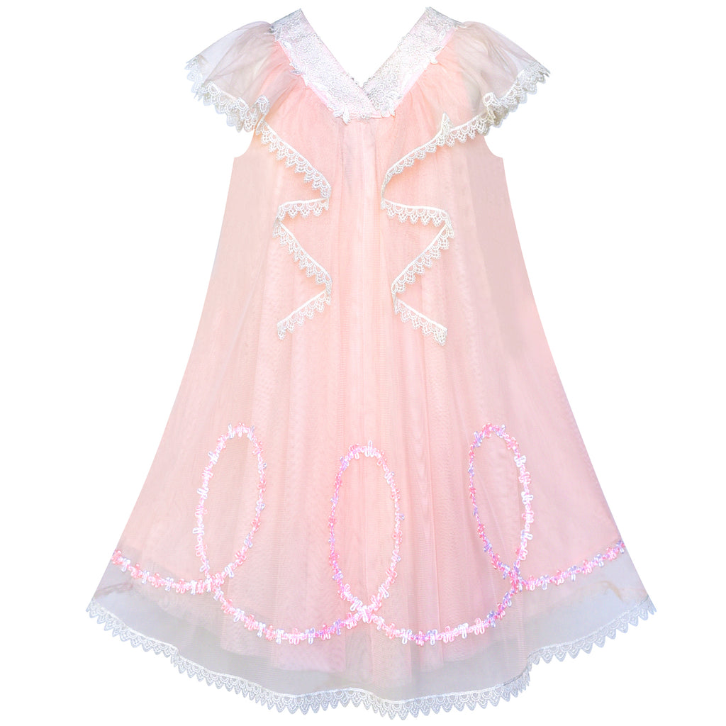 Girls Dress A-line Pink Ruffle Birthday Party Size 4-10 Years