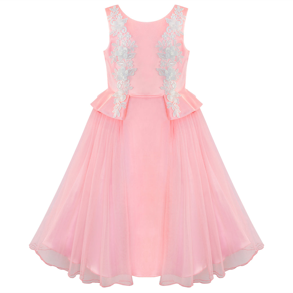 Flower Girls Dress Pink Lace Wedding Party Birthday Size 6-12 Years