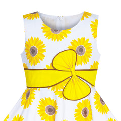 2 Pieces Girls Dress Hat Yellow Flower Party Holiday Size 4-12 Years