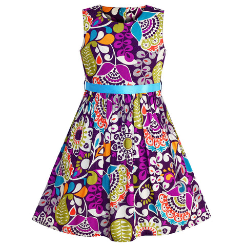 Girls Dress Flower Pattern Purple Summer Sundress Size 2-10 Years