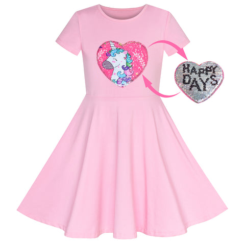 Girls Dress Unicorn Pink Short Sleeve Causal Everyday Size 4-8 Years