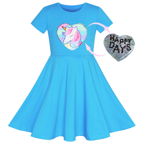 Girls Dress Unicorn Blue Short Sleeve Causal Everyday Size 4-8 Years