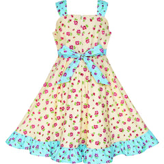 Girls Dress Flower Floral Bow Tie Summer Tank Sundress Size 4-8 Years