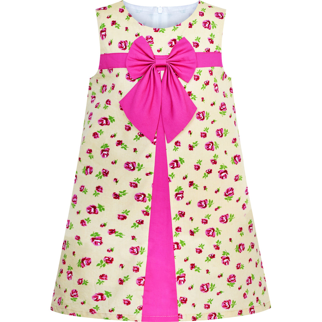 Girls Dress A-line Bow Tie Beige Rose Flower Size 3-7 Years