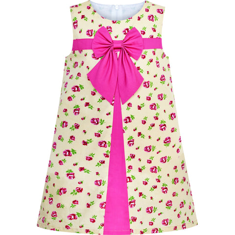 34dfc04406a6 Girls Dress A-line Bow Tie Beige Rose Flower Size 3-7 Years