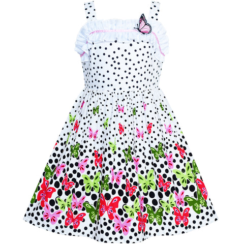 5fb51285c94e Girls Dress Flower Polka Dot Tank Sundress Size 4-8 Years