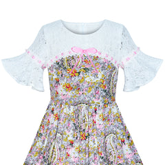 Girls Dress Lace Bell Sleeve Paisley Pattern Vintage Size 4-8 Years