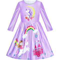 Girls Dress Long Sleeve Unicorn Castle Rainbow Purple Size 5-10 Years