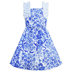 Girls Dress Blue And White Porcelain Vintage Tank Dress Size 6-12 Years