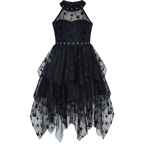 Girls Dress Black Halter Lace Star Tutu Dancing Party Size 6-12 Years