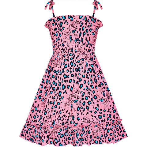 Girls Dress Tank Smocked Dress Cat Leopard Size 2-10 Years
