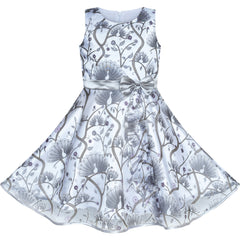 Girls Dress Peacock Silver Gray Tulle Pageant Party Size 4-12 Years