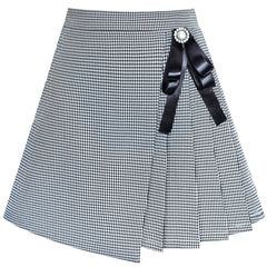 Girls Skirt Pleated Plaid Skirt Black White Back School Uniform Size 6-14 Years