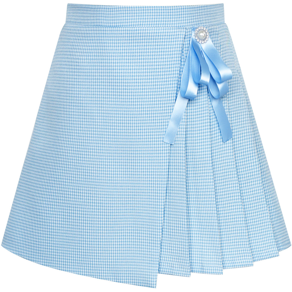 Girls Skirt Envelope Wrap Skirt Blue Back School Uniform Size 6-14 Years