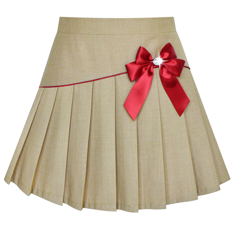 Girls Skirt Beige Pleated Bow Tie Back School Uniform Size 6-14 Years