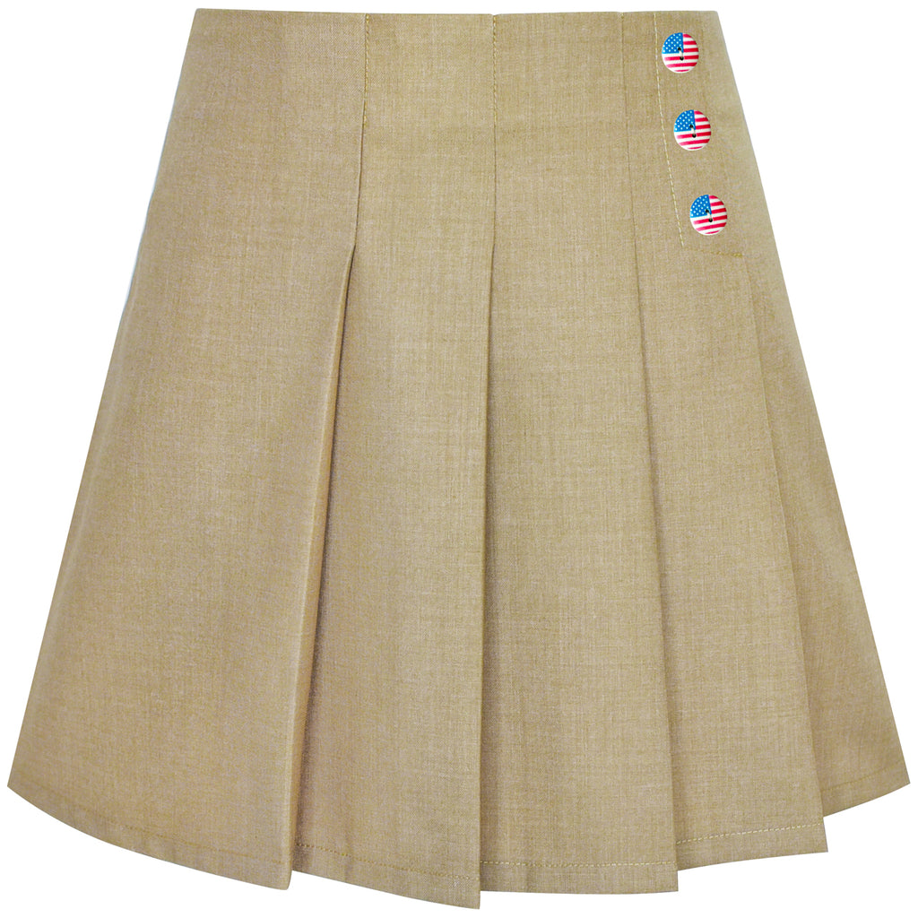 Girls Skirt Beige Pleated Back School Uniform Size 6-14 Years