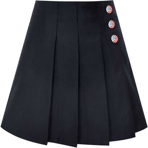 Girls Skirt Black Pleated Back School Uniform Size 6-14 Years