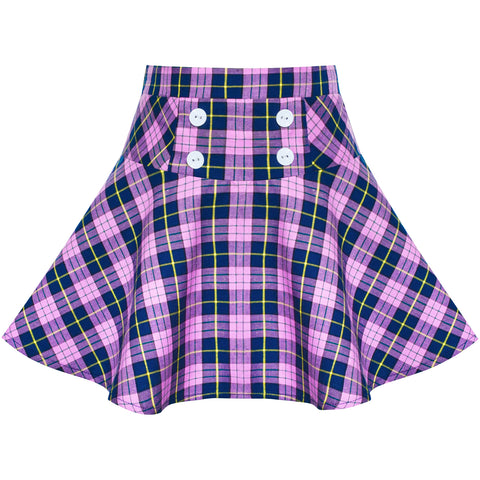 Girls Skirt Purple Tartan School Stretchy Uniform Back School Size 6-14 Years