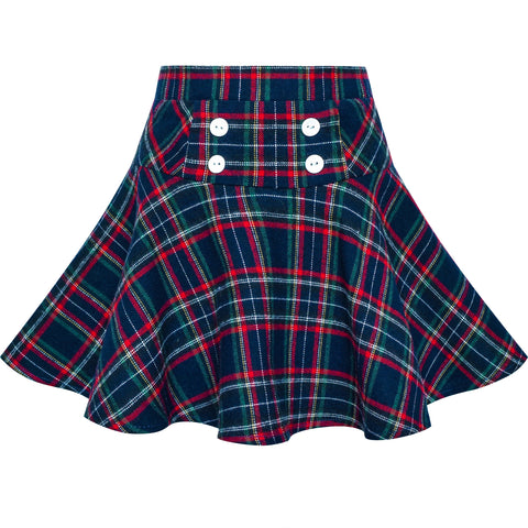 Girls Skirt Plaid Stretchy School Uniform Tartan Back School Size 6-14 Years