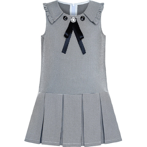 Girls Dress Pleated White Black Plaid Collar School Uniform Size 4-8 Years