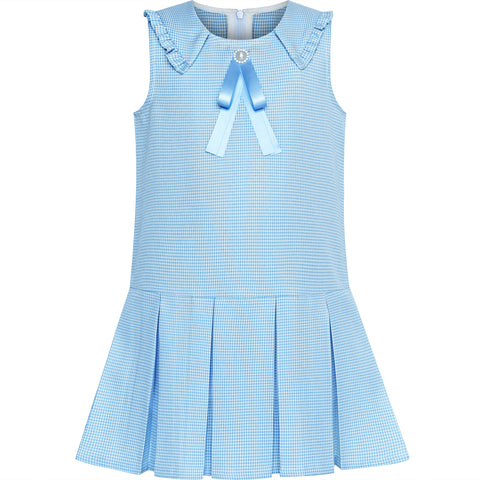 Girls Dress Pleated Blue Plaid Collar School Uniform Size 4-8 Years