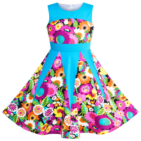 Girls Dress Floral Colorful Sundress Cotton Casual Size 6-12 Years