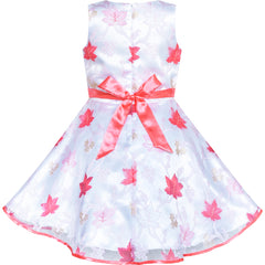 Girls Dress Maple Leaf Tulle Wedding Party Size 4-12 Years