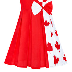 Girls Dress Canada Flag National Day Party Dress Size 4-14 Years