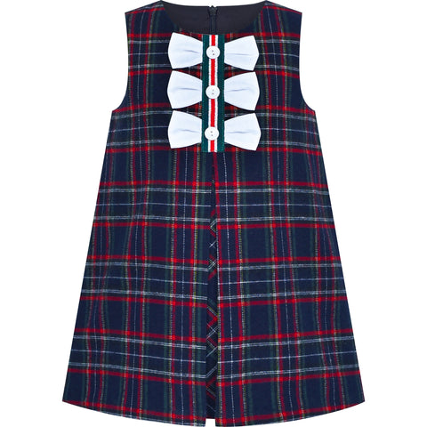 Girls Dress Plaid A-line Bow Tie School Uniform Size 3-7 Years