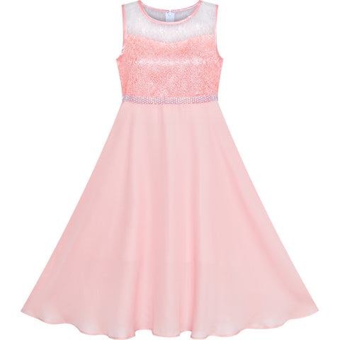 Girls Dress Pink Rhinestone Chiffon Bridesmaid Dance Maxi Gown Size 6-14 Years