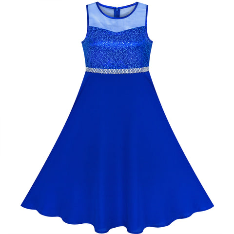 Girls Dress Blue Rhinestone Chiffon Bridesmaid Dance Maxi Gown Size 6-14 Years