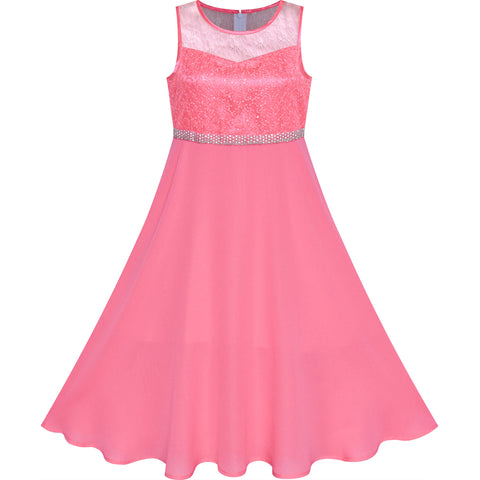 Girls Dress Coral Rhinestone Chiffon Bridesmaid Dance Maxi Gown Size 6-14 Years