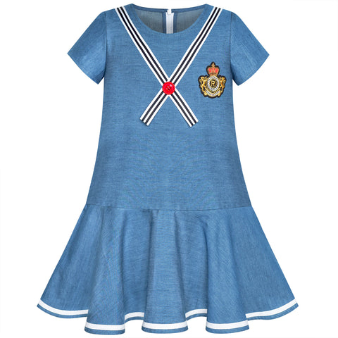 Girls Dress Denim Blue Short Sleeve School Uniform Size 5-12 Years