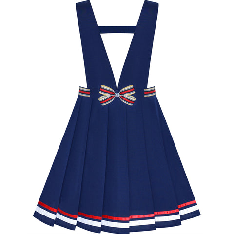 Girls Dress Blue Suspender Skirt School Uniform Bow Tie Size 7-14 Years