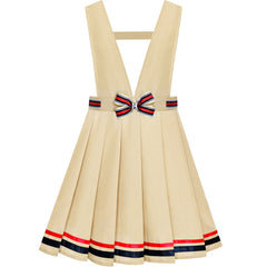 Girls Dress Beige Suspender Skirt School Uniform Bow Tie Size 7-14 Years