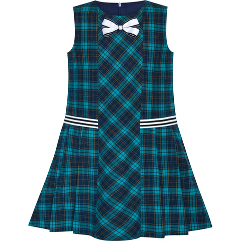 Girls Dress Green A-line Plaid School Uniform Pleated Hem Size 4-8 Years