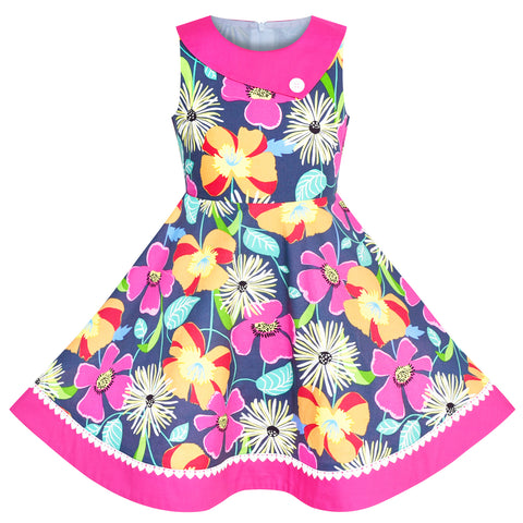 7aed2a07a Girls Dress Floral Colorful Sundress Cotton Casual Size 6-12 Years