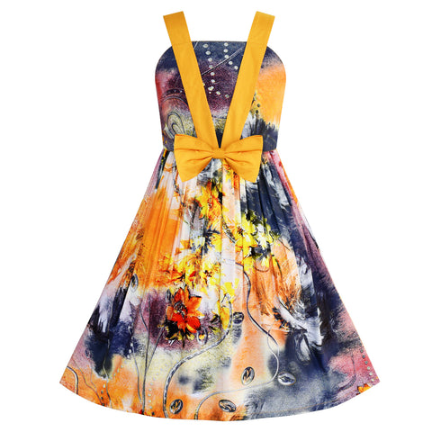 Girls Dress Tank Bow Tie Sundress Summer Beach Floral Size 6-12 Years
